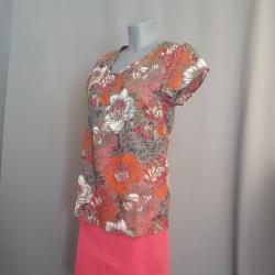 Shirt, geblümt, Rhabarber Gr. 36