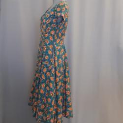 Kleid, petrol-orange geblümt Gr. 40