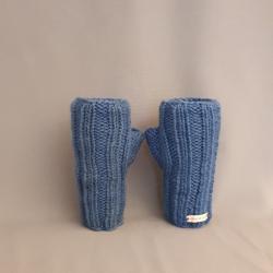 Handstulpen handgestrickt, blau