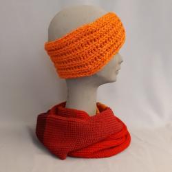 Stirnband handgestrickt, orange