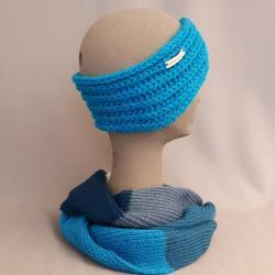 Stirnband handgestrickt, türkis