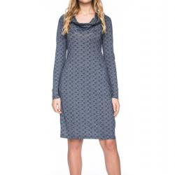 Kleid HALBMOND, blau gemustert Größe XL