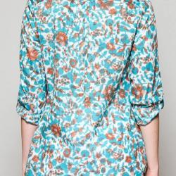 Bluse TRESCO, blauorange gemustert